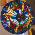 modern Tiffany lámpa részletei felülről
