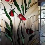 virágmintás ólomüveg ablakbetét