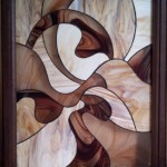 Ívelt vonalakkal díszített modern ólomüveg kép