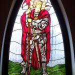 Szent Györgyöt ábrázoló ólomüveg templom ablak